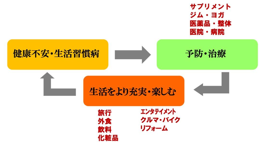 図表:健康不安・生活習慣病→予防・治療→生活をより充実・楽しむ→健康不安・生活習慣病